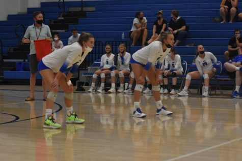 READY TO BUMB  Sophie Bushmann & Emma Winter prepare to receive a serve in a recent game vs. Silver Creek.